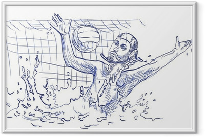 water polo, goalkeeper - hand drawing Framed Poster