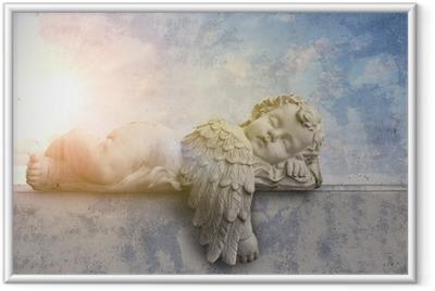 Gerahmtes Poster Schlafender Engel im Sonnenschein