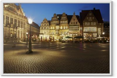 Gerahmtes Poster Bremen - Rathausplatz am Abend