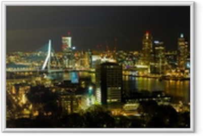 Ingelijste Poster Rotterdam bij nacht