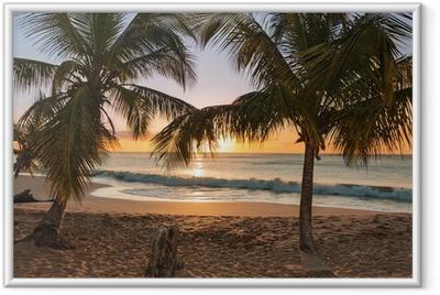 Poster in Cornice Alberi tramonto spiaggia di palme onde