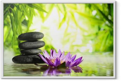 Poster en cadre Spa encore la vie avec lotus et de la pierre zen sur l'eau