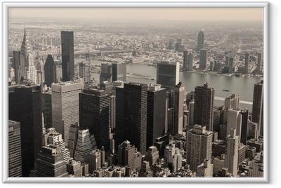 Ingelijste Poster Skyline van Manhattan - sepia afbeelding