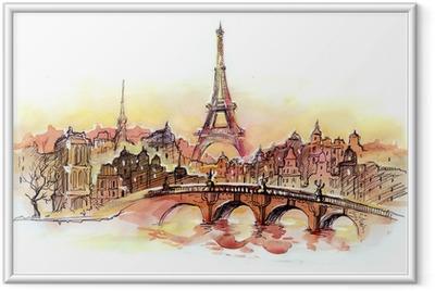 Poster en cadre Coucher de soleil à Paris.