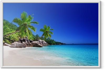 Strand på Praslin Island, Seychellerne Indrammet plakat