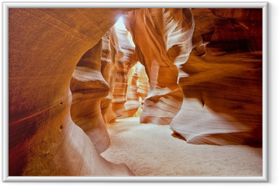 Antelope Canyon view with light rays Framed Poster