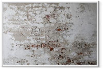 Ingelijste Poster Oude rode bakstenen muur met gescheurd beton