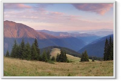 Póster Enmarcado Panorama de la mañana de las montañas