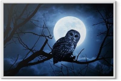Poster en cadre Hibou Montres Attentivement éclairé par la pleine lune la nuit d'Halloween