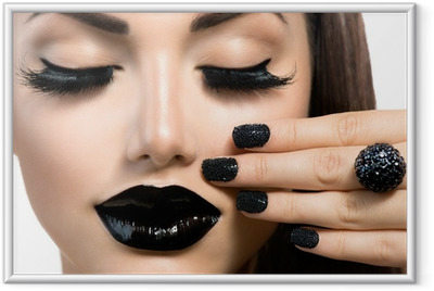 Beauty Fashion Girl with Trendy Caviar Black Manicure and Makeup Framed Poster