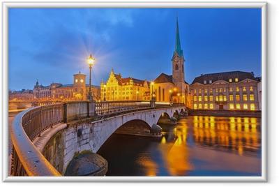 Poster en cadre Zurich la nuit