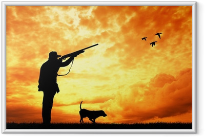 hunter at sunset Framed Poster
