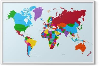 Gerahmtes Poster Weltkarte, bunt Ländern atlas EPS10 Vektor-Datei.
