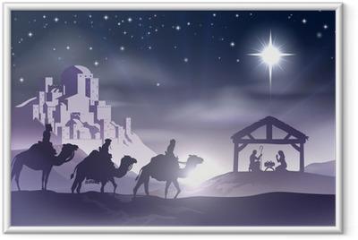 Poster en cadre Crèche de Noël - Noël