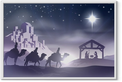 Poster i Ram Nativity Christmas Scene