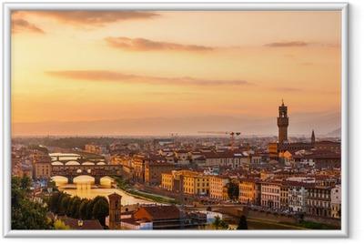 Poster i Ram Guld- solnedgång över floden Arno, Florens, Italien