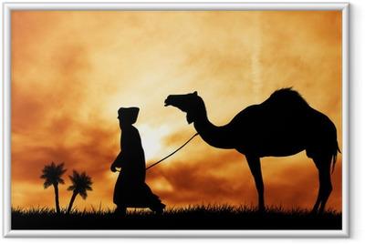 Ingelijste Poster Kameel in de woestijn