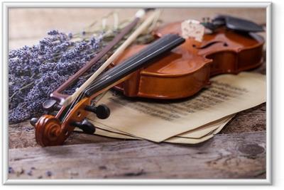 Gerahmtes Poster Vintage-Komposition mit Violine und Lavendel