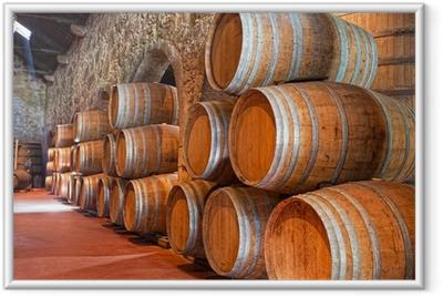 cellar with wine barrels Framed Poster