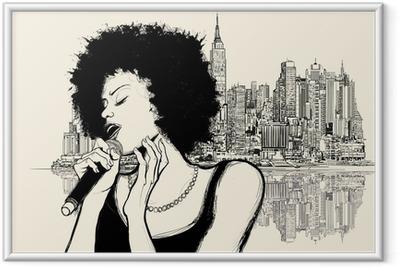 Plakat w ramie Afro amerykański piosenkarz jazzowy