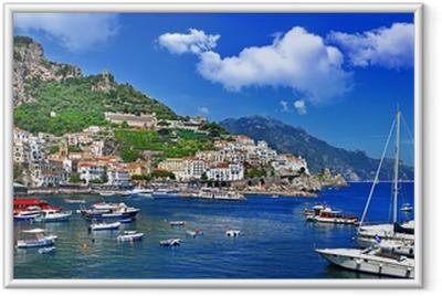 Fantastiske Amalfikysten. Italien Indrammet plakat