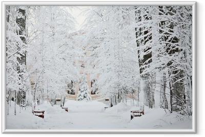 cold winter forest landscape snow Framed Poster