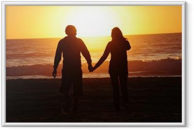 Póster Enmarcado Amante de la pareja playa puesta de sol