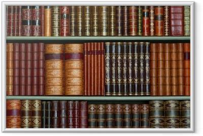 Ingelijste Poster Oude bibliotheek van vintage harde kaft boeken op planken