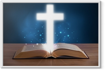 Open holy bible with glowing cross in the middle Framed Poster