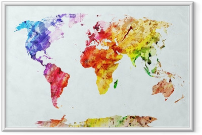 Póster com Moldura Watercolor world map