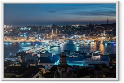 Ingelijste Poster Galatabrug Istanbul Bosporus nacht