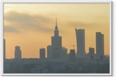 Póster com Moldura Warsaw sunset panorama
