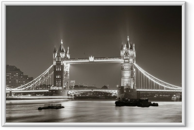 Tower Bridge at night in black and white Framed Poster
