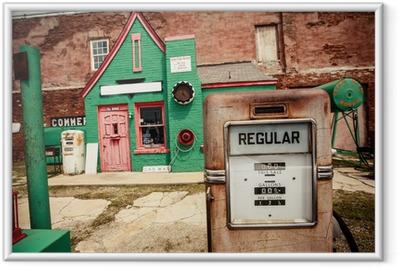 Innrammet plakat Forladt bensinstasjon på Route 66