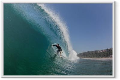 Gerahmtes Poster Surfen Rohr-Fahrt Großen Wellen