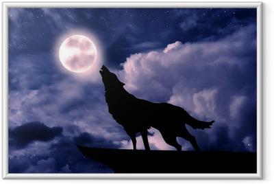 Poster en cadre Loup hurlant à la pleine lune