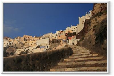 landscape of Oia village in Santorini Greece Framed Poster