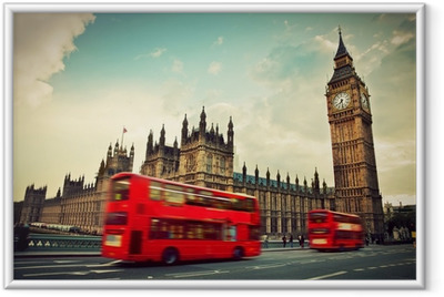 London, the UK. Red bus in motion and Big Ben Framed Poster