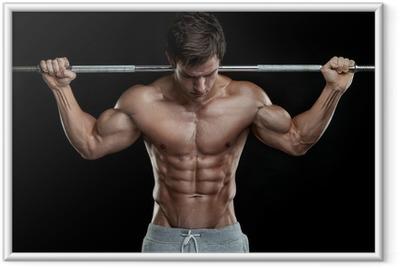 Poster i Ram Muskulös kroppsbyggare killen gör övningar med hantlar över bla