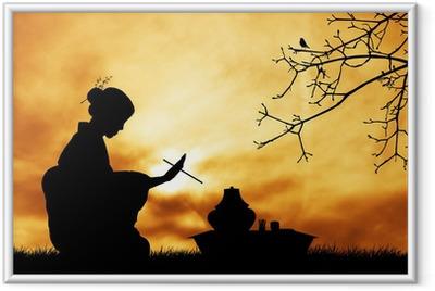 Gerahmtes Poster Tee-Zeremonie bei Sonnenuntergang