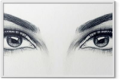 Ingelijste Poster Vrouw ogen