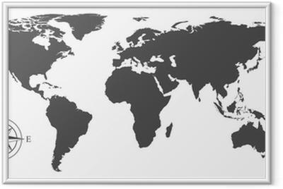 Plakat w ramie Mapa świata wektor