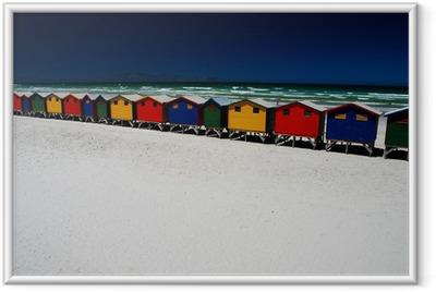 Ingelijste Poster Kleurrijke strand hutten. Muizenberg, Zuid-Afrika