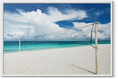Plakat w ramie Piękna plaża z siatkówka netto