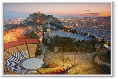 Poster en cadre Athènes au coucher de soleil depuis la colline Likabetus. - Thèmes
