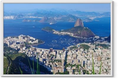 Bjerget Sugar Loaf og Botafogo i Rio de Janeiro Indrammet plakat