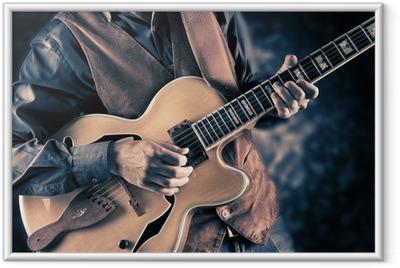 guitar player vintage image Framed Poster