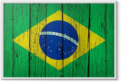 Brasilien Flag Wood Background Indrammet plakat