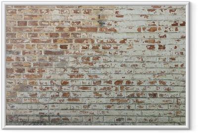Ingelijste Poster Achtergrond van oude vintage vuile bakstenen muur met peeling gips