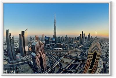 Gerahmtes Poster Skyline von Dubai